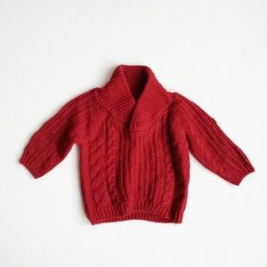 Zara red/wine cable knit sweater EUC 9-12 months